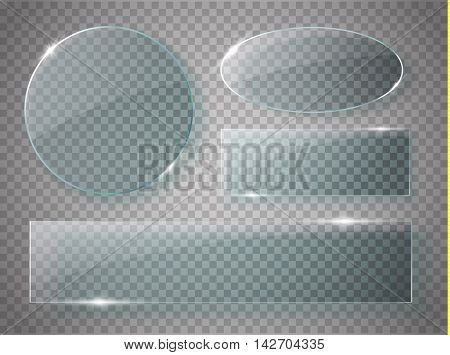 Glass plates set. Vector acrylic banners on transparent background. Vector illustration
