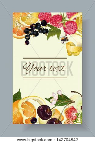 Vector fruit and berry banner. Design for juice tea ice cream jam natural cosmetics sweets and pastries filled with fruit dessert menu health care products. With place for text