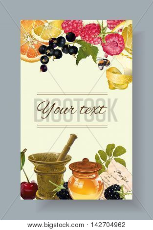 Vector fruit and berry cosmetic banner with honey and mortar. Design for natural cosmetics, health care products, aromatherapy homeopathy,  grocery. With place for text