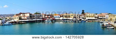 RETHYMNO GREECE - 08.03.2016: Rethymnon city Crete Greece Venetian harbour panorama view