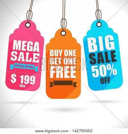 Set of three creative colorful Hang Tags or Labels design for Big Sale and Discounts.