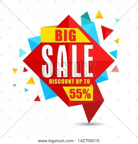 Big Sale with Discount upto 55%, Creative colorful Paper Tag, Banner, Lable or Poster design, Vector illustration.