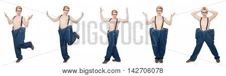 Funny man with trousers isolated on white