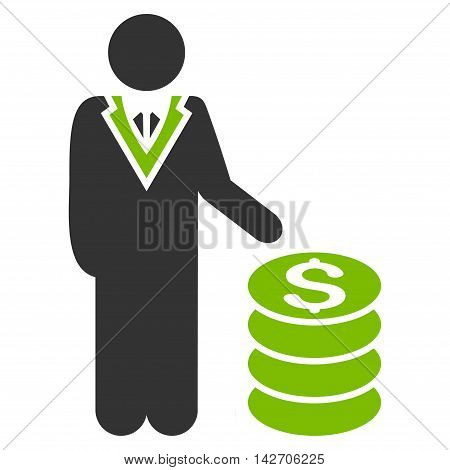 Businessman icon. Glyph style is bicolor flat iconic symbol with rounded angles, eco green and gray colors, white background.