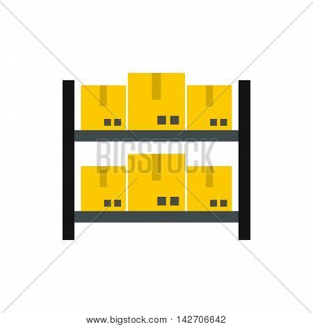 Storage of goods icon in flat style isolated on white background. Warehousing symbol