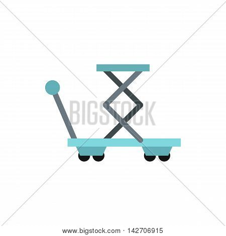 Truck with lifting spring icon in flat style isolated on white background. Transport symbol