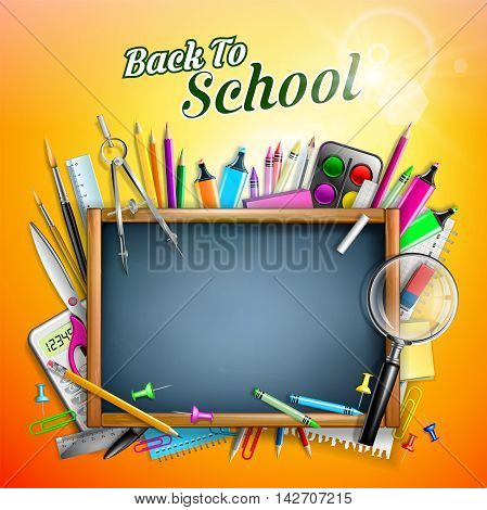 Blackboard With School Supplies With Sunlight - Back to school