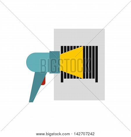 Bar code on cargo icon in flat style isolated on white background. Equipment symbol