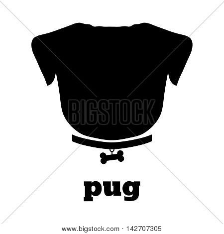 Pug silhouette with bone on the collar. Good for textile and paper print, card, poster, another design. Cute funny dog icon vector illustration. Pet love theme.