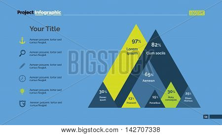 Mountain diagram with percentage. Element of presentation, graph, chart, diagram. Concept for business template, infographics, report. Can be used for topics like analysis, marketing, finance