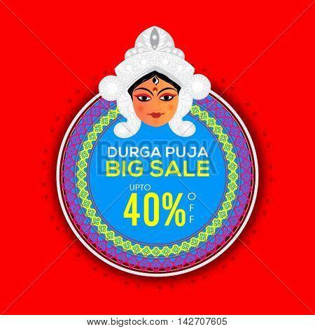Durga Puja Big Sale with upto 40% Off, Beautiful background with illustration of Goddess Durga, Floral Sticker, Tag, Label design, Vector illustration for Indian Festival celebration.