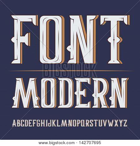 Vector handy crafted modern label font. On dark background.