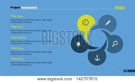 Creative circular chart. Element of presentation, chart, step diagram. Concept for business template, infographics, report. Can be used for topics like planning, business strategy, working process