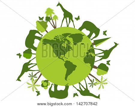 Animals on the planet animal shelter wildlife sanctuary. World Environment Day. Vector illustration.