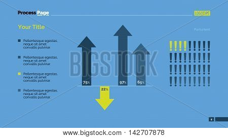 Combo diagram with arrows and exclamation marks. Element of presentation, bar chart, diagram. Concept for templates, infographics, report. Can be used for topics like marketing, analysis, finance