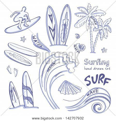 Set of doodle sketch Surfing sport icons. Isolated vector illustration