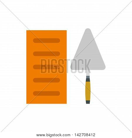 Brick and trowel icon in flat style isolated on white background. Tool symbol