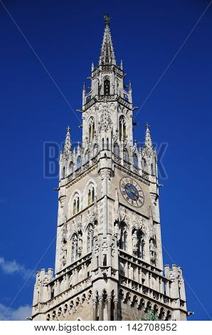 Close up image of the city hall tower on Marienplatz. Munich. Germany.