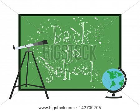 School Blackboard. Globe And Telescope. Back To School. Vector Illustration.