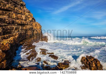 Cape of Good Hope - the most extreme south-western point of Africa. The powerful ocean surf in the Atlantic