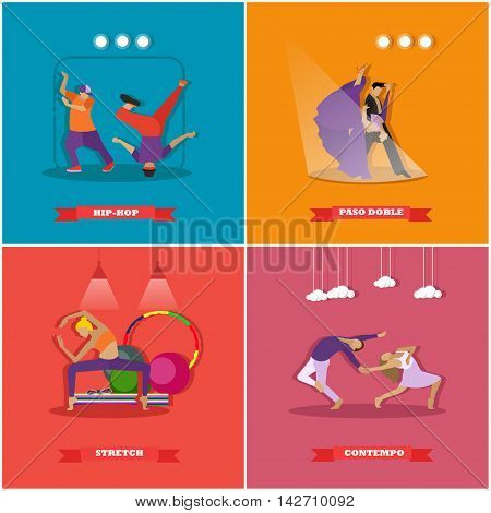 People dancing in different styles. Break dance, paso doble, contemporary dance. Vector illustration in flat design.