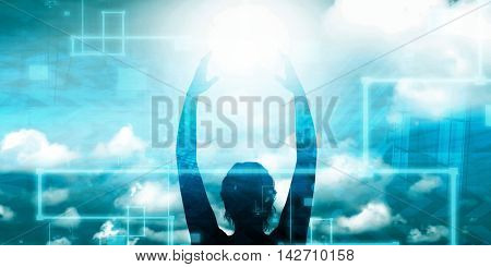 Woman Holding the Sun as a Motivational Concept Abstract 3d Illustration Render