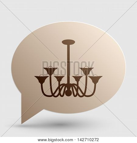 Chandelier simple sign. Brown gradient icon on bubble with shadow.