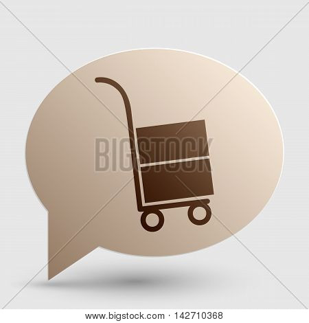 Hand truck sign. Brown gradient icon on bubble with shadow.