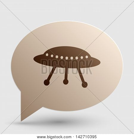 UFO simple sign. Brown gradient icon on bubble with shadow.