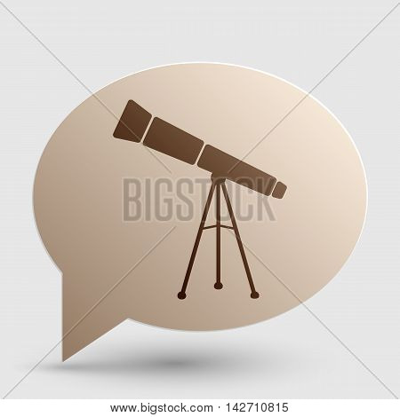 Telescope simple sign. Brown gradient icon on bubble with shadow.