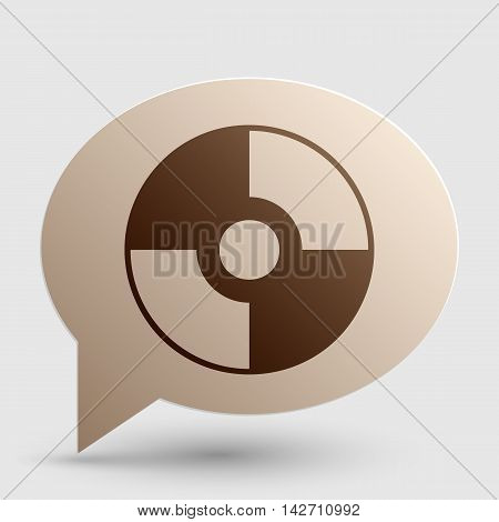 Vector CD or DVD sign. Brown gradient icon on bubble with shadow.