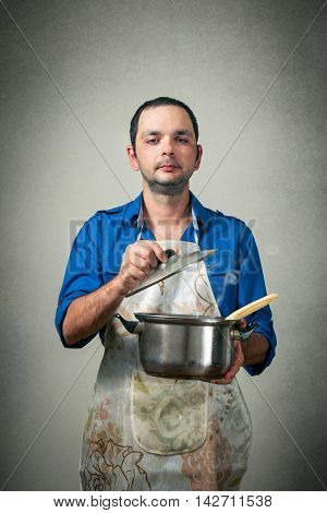man with the meal in the pan