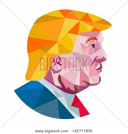 August 15, 2016: Illustration showing Republican Party presidential president 2016 candidate Donald John Trump side profile done in low polygon art style.