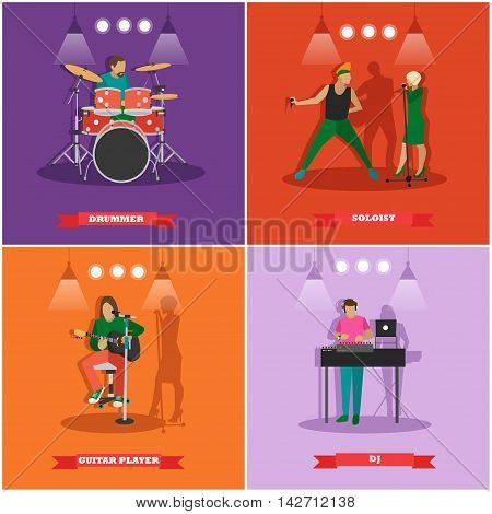Vector set of musician and singers. Music rock band concept banners. Rock guitarist, dj, drummer.
