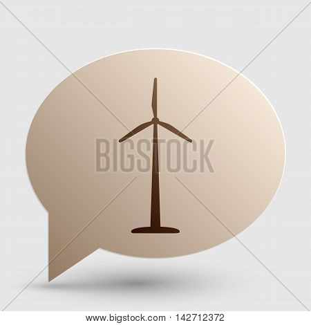 Wind turbine logo or sign. Brown gradient icon on bubble with shadow.