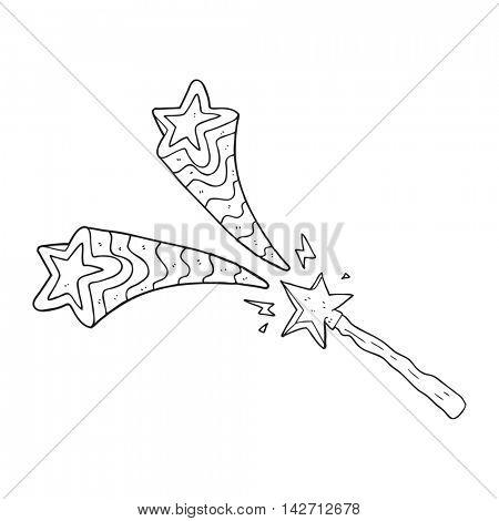 freehand drawn black and white cartoon magic wand