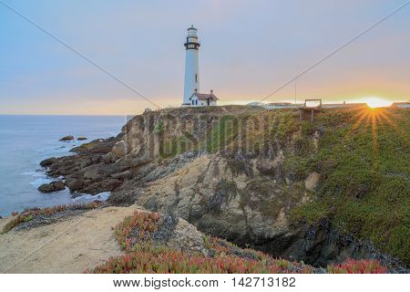 Sunset over Pigeon Point Lighthouse, Pescadero, California, USA