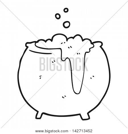 freehand drawn black and white cartoon cauldron