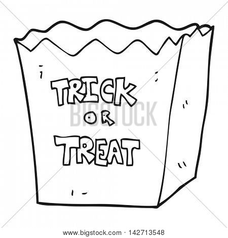freehand drawn black and white cartoon trick or treat bag