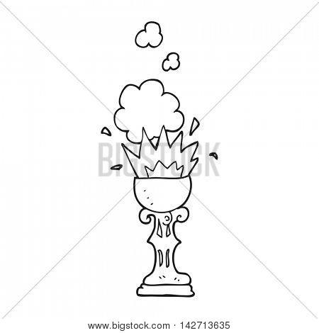 freehand drawn black and white cartoon magic goblet