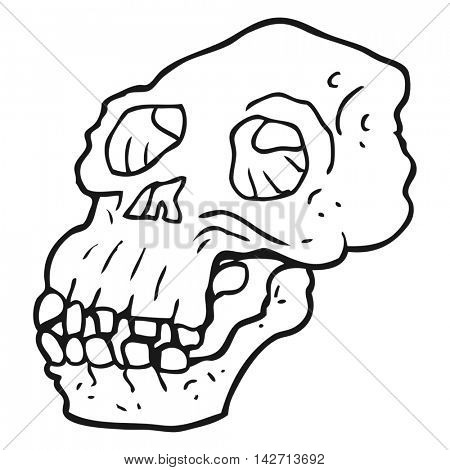 freehand drawn black and white cartoon ancient skull