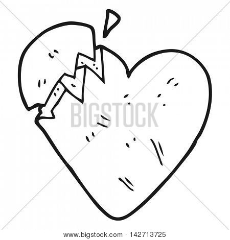 freehand drawn black and white cartoon broken heart