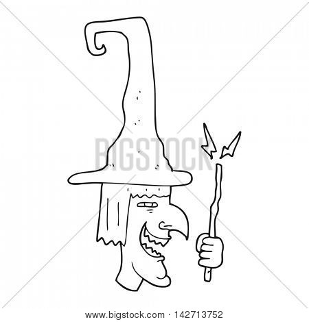 freehand drawn black and white cartoon laughing witch