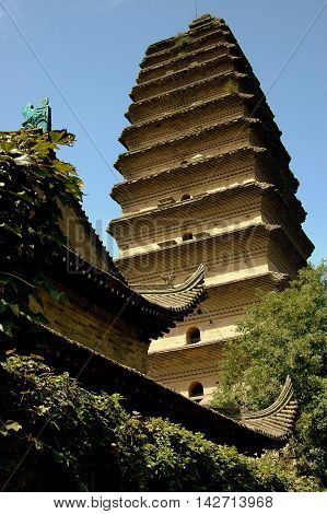 Xi'an China - September 6. 2006: Small (Lesser) Wild Goose Pagoda dates to 684 A. D. one of the city's historic landmarks