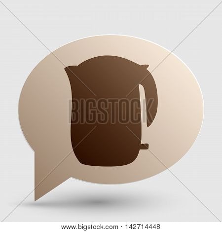 Electric kettle sign. Brown gradient icon on bubble with shadow.