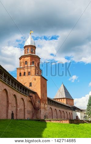 Kokui Tower and Inrecession Tower of Novgorod Kremlin in sunny summer day - architecture landscape in Veliky Novgorod Russia