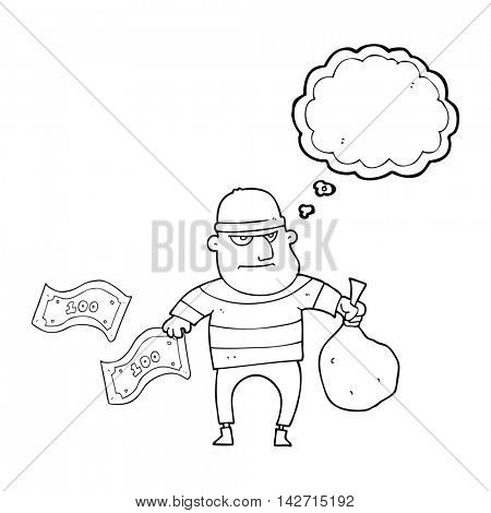 freehand drawn thought bubble cartoon bank robber