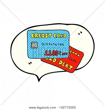 freehand drawn comic book speech bubble cartoon credit cards
