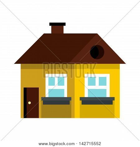 Small yellow cottage with brown roof icon in flat style on a white background
