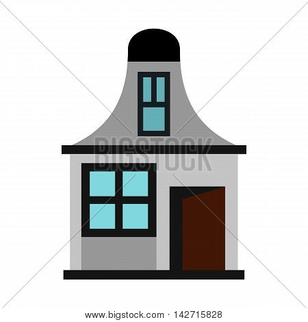 House with a mansard icon in flat style on a white background
